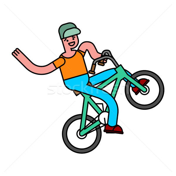 Stock photo: Tricks on bicycle. guy on bike. Repent of BMX.