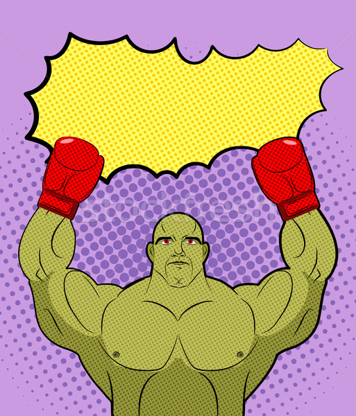 Green big Boxer Monster pop art with an empty bubble text. Gobli Stock photo © MaryValery