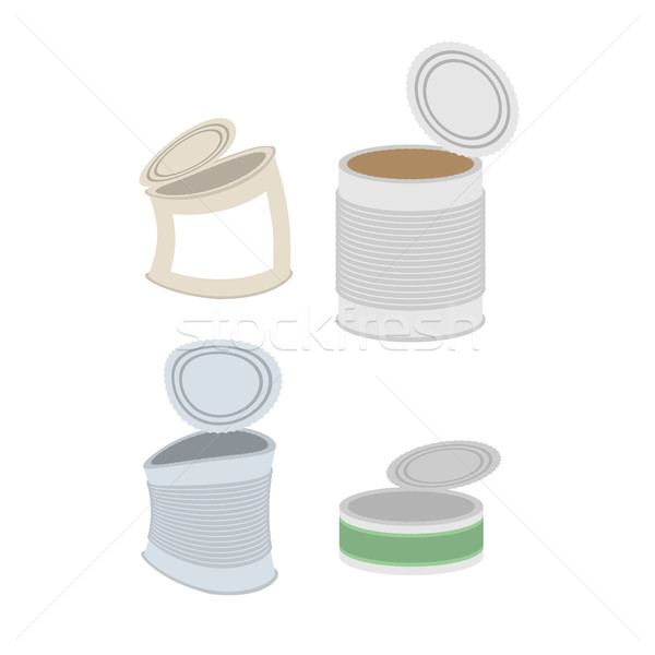 Tin crushed garbage set. Can rubbish on white background Stock photo © MaryValery