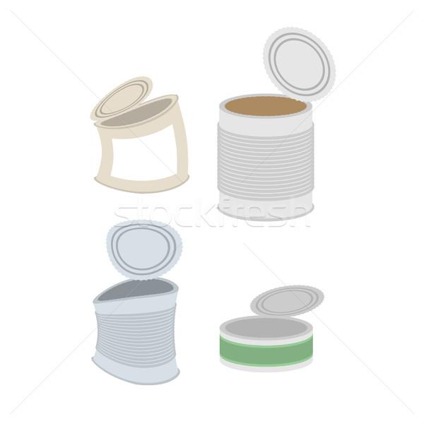 олово мусора набор можете мусор белый Сток-фото © MaryValery