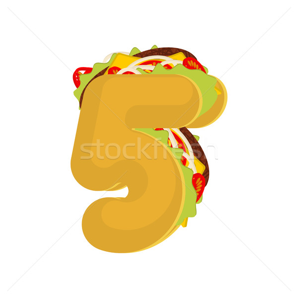 Number 5 tacos. Mexican fast food font five. Taco alphabet symbo Stock photo © MaryValery
