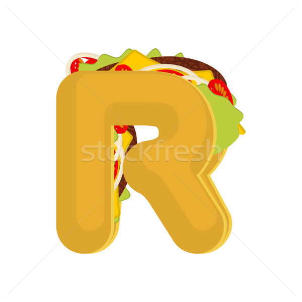Letter R tacos. Mexican fast food font. Taco alphabet symbol. Me Stock photo © MaryValery