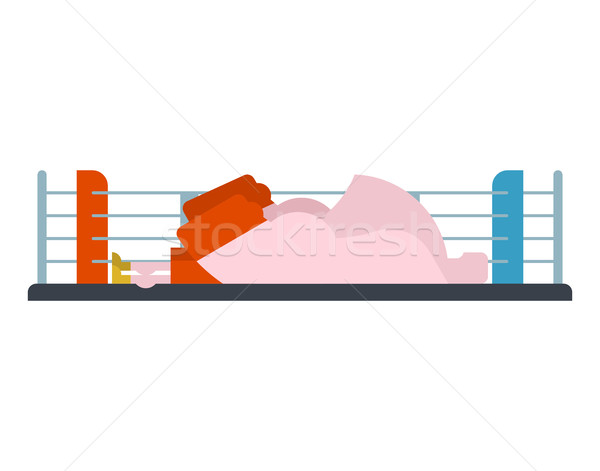 Stock photo: Knockout boxer in ring. loser is athlete. Fighter defeated isola