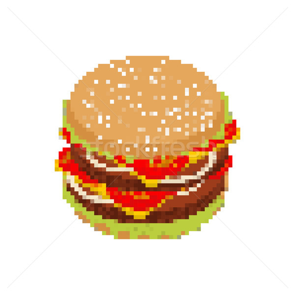 Hamburger pixel art. pixelated Fast food isolated on white backg Stock photo © MaryValery