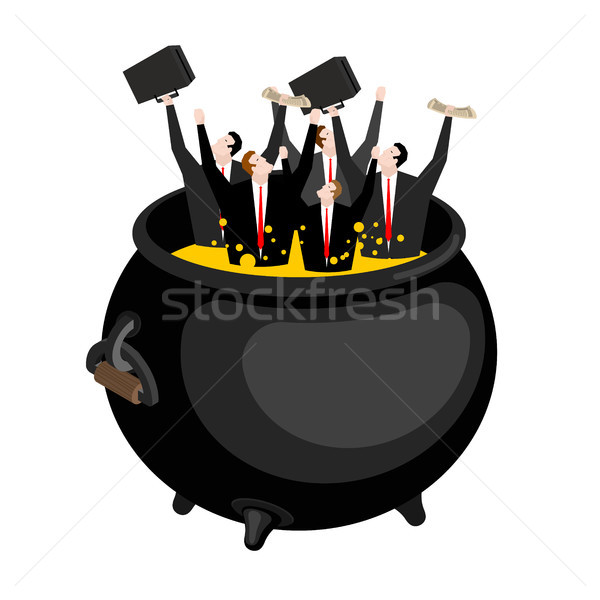 Businessman in hellish cauldron. Boss is in hell. Hot oil in boi Stock photo © MaryValery