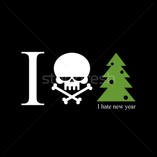 I hate new year. Skull and bones is a symbol of hatred for holid Stock photo © MaryValery