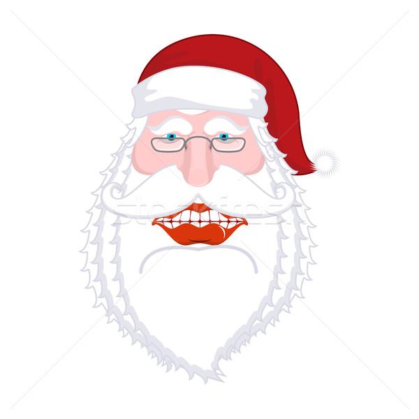 Joyful Santa Claus. Broad smile. Big mouth. Merry Christmas old  Stock photo © MaryValery