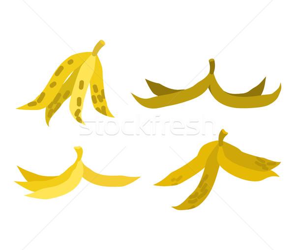 Peel banana set trash. Garbage white background Stock photo © MaryValery