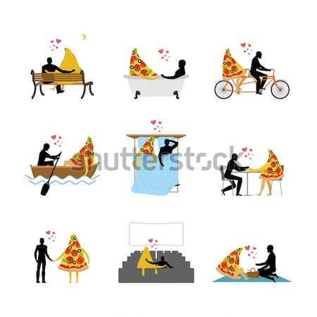 Cat lover set. Man and pet in movie theater. Lovers in bath. Rom Stock photo © MaryValery