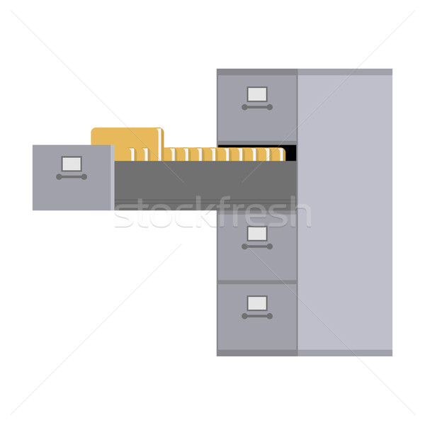 File Cabinet open. Card index  Iron box for documents. Office fu Stock photo © MaryValery
