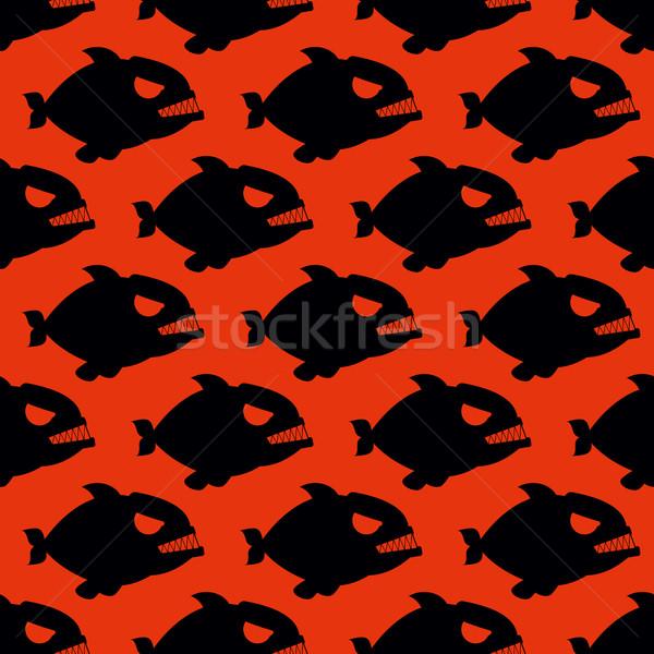 Agresszív végtelen minta piranha hal sziluettek nagy Stock fotó © MaryValery