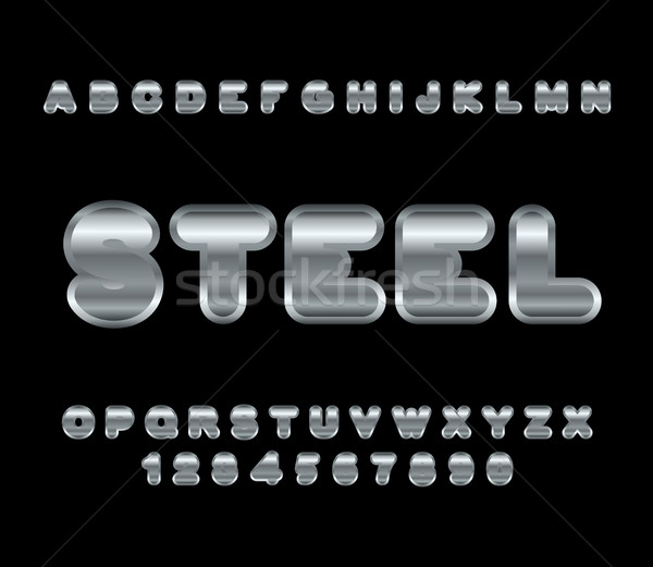 Steel font. Metal alphabet. Metallic shimmering letters. Chrome  Stock photo © MaryValery