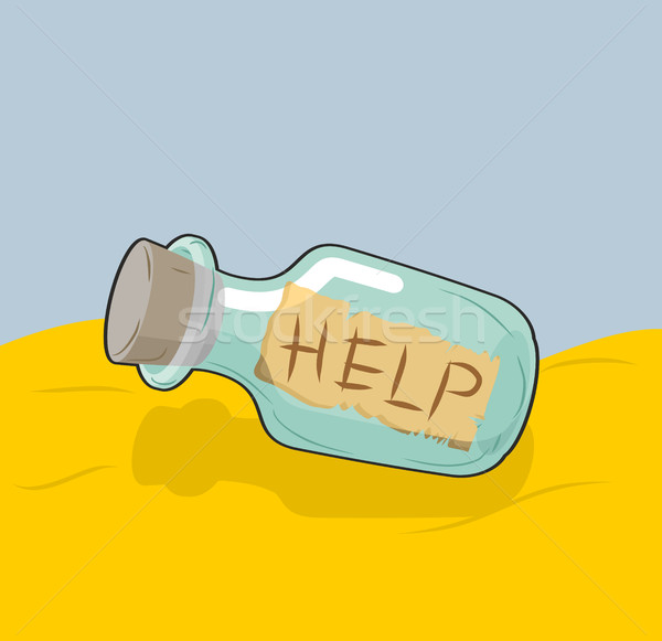 Transparent bottle with text 'Help' on sand. Glass vessel with m Stock photo © MaryValery
