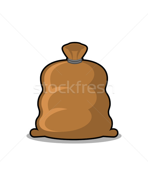 Full sack isolated. Brown textile bag on white background Stock photo © MaryValery