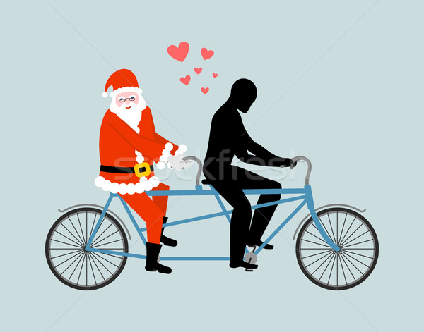 Natal papai noel bicicleta amantes ciclismo Foto stock © MaryValery