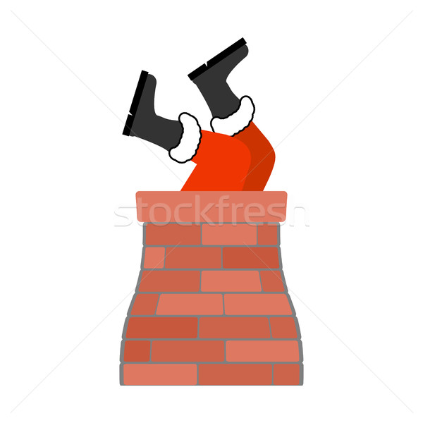Stock photo: Santa Claus stuck isolated. Legs Santa sticking out in chimney.