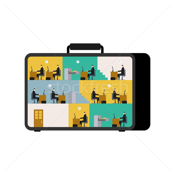 Office in case. mobile Workplace in suitcase. Managers working o Stock photo © MaryValery