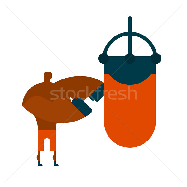 Boxer and punching bag. Sports Training. punch power Stock photo © MaryValery