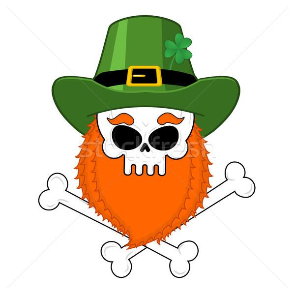 Crânio vermelho barba verde irlandês Foto stock © MaryValery