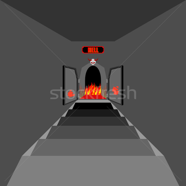 Gate to hell. Open  Fiery gate of purgatory. Door to hell. Entra Stock photo © MaryValery