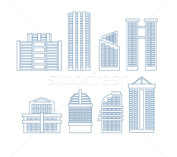 High-rise buildings. Buildings line icon set. City Skyscrapers v Stock photo © MaryValery