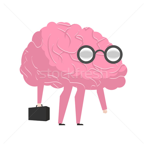Smart brain wearing glasses and with suitcase. genius Researcher Stock photo © MaryValery