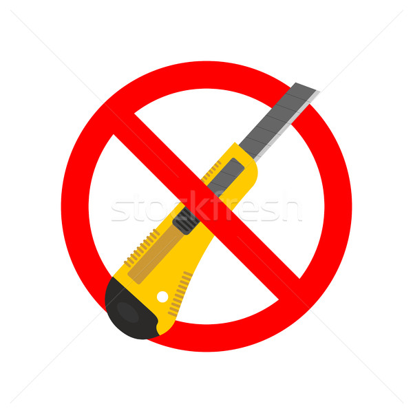 Stop Stationery knife. Ban Office paper cutter. Red prohibition  Stock photo © MaryValery
