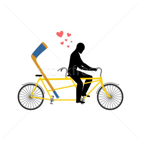 Hóquei bicicleta amantes ciclismo homem Foto stock © MaryValery