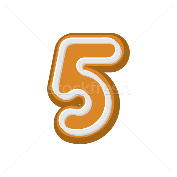 Number 5 Gingerbread font. Peppermint honey-cake ABC five. Cooki Stock photo © MaryValery