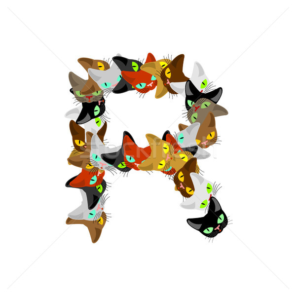letter R Cat font. Pet alphabet symbol. home animal ABC sign Stock photo © MaryValery