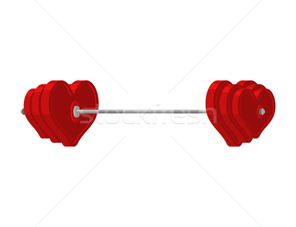 Love barbell. Heart weights. Amur fitness. Sports projectile for Stock photo © MaryValery