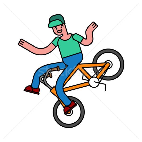 велосипед парень велосипедов улице Перейти весело Сток-фото © MaryValery