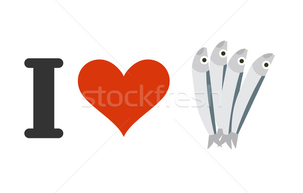 I love anchovies. Heart and small fish. Logo for seafood lovers Stock photo © MaryValery