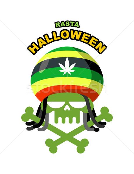 Stock photo: Rasta Halloween Night. Skull addict with dreadlocks and bones. C