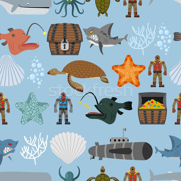Ocean life seamless pattern. Shark and aquatic turtle, submarine Stock photo © MaryValery
