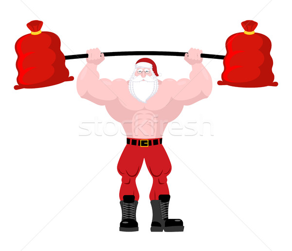 Strong Santa Claus lift barbell of red bag gifts. Powerful old m Stock photo © MaryValery