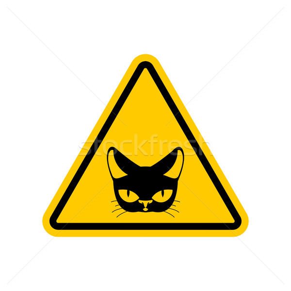 Attention chat danger jaune panneau routier animal Photo stock © MaryValery