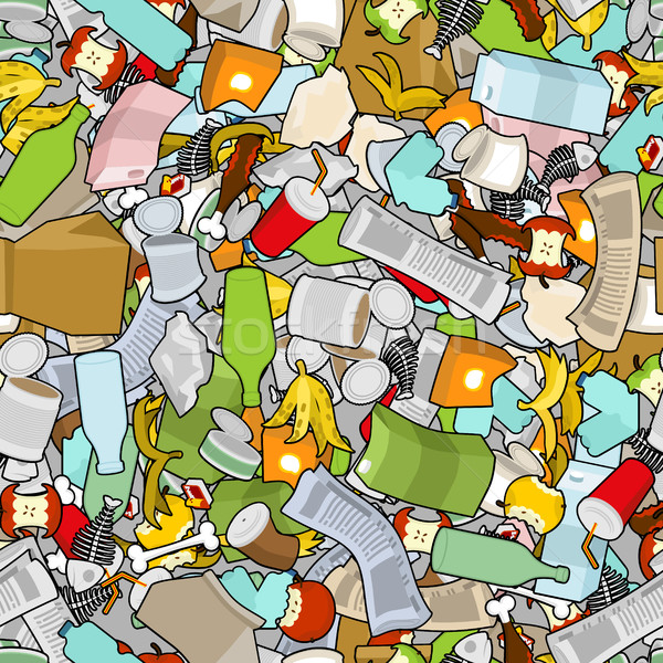 Garbage texture. Rubbish seamless pattern. trash ornament. litte Stock photo © MaryValery