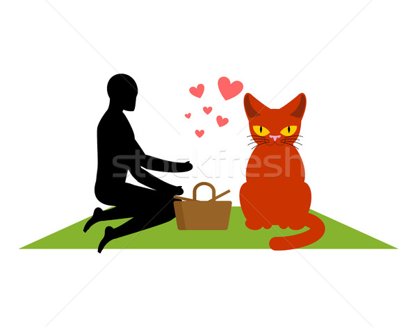 Cat lover on picnic. my kitty. blanket and basket for food on la Stock photo © MaryValery