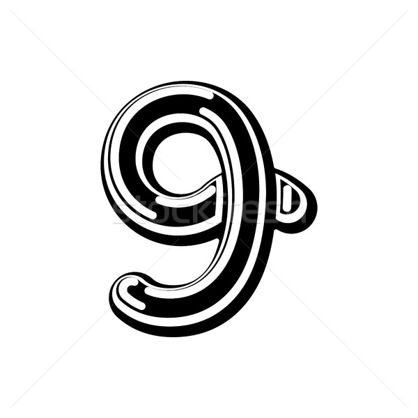 Number 9 Celtic font. norse medieval ornament ABC sign nine. Tra Stock photo © MaryValery