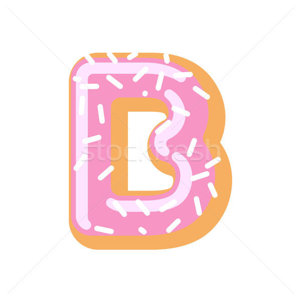 Letter B donut font. Doughnut alphabet. Sweet lettering. candy A Stock photo © MaryValery
