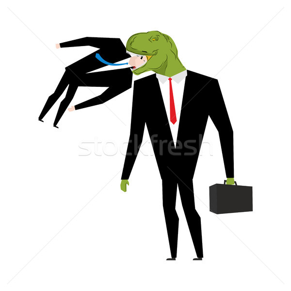 Biznesmen jedzenie konkurent dinozaur szef zielone Zdjęcia stock © MaryValery