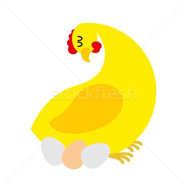 Tyúk ül tojások farm madár baba Stock fotó © MaryValery
