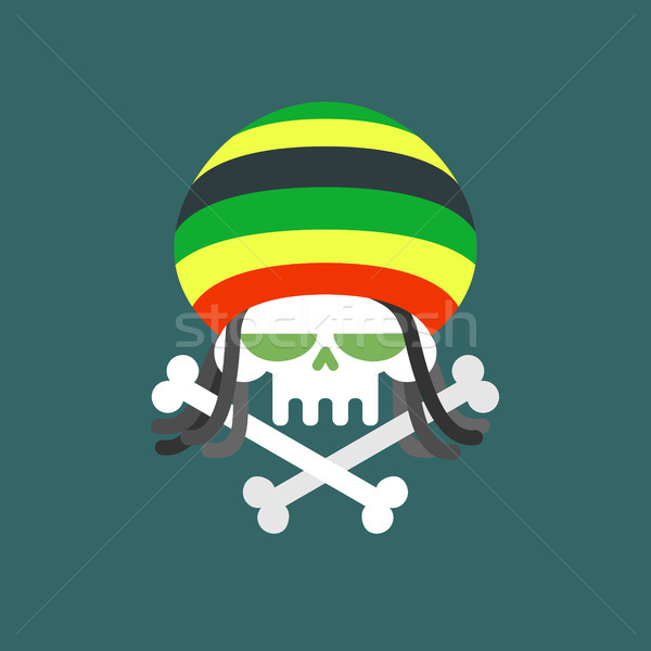 Rasta skull. Skull addict with dreadlocks and bones. Dead from d Stock photo © MaryValery