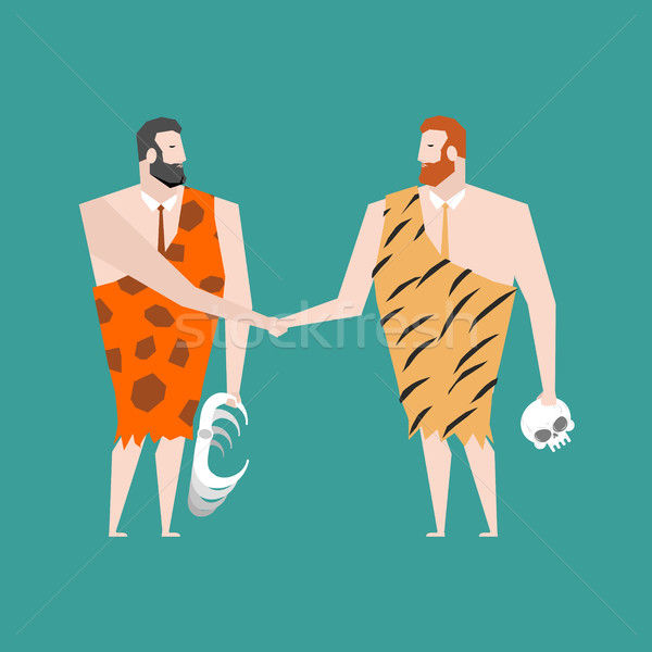Ancient businessman deal. Neanderthal Agreement. Prehistoric man Stock photo © MaryValery