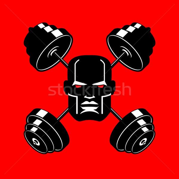 Halter amblem spor salonu kafa vücut geliştirmeci imzalamak Stok fotoğraf © MaryValery