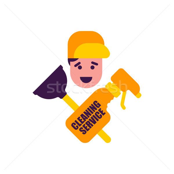 Temizlik hizmet logo kauçuk ajan su Stok fotoğraf © MaryValery