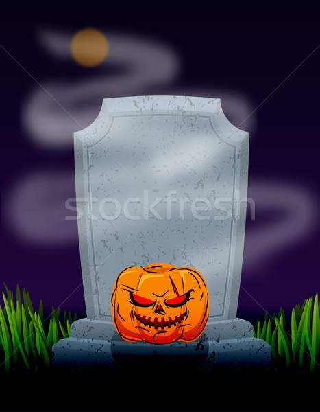 Grave in cemetery at night. Tombstone and spooky pumpkin. Illust Stock photo © MaryValery