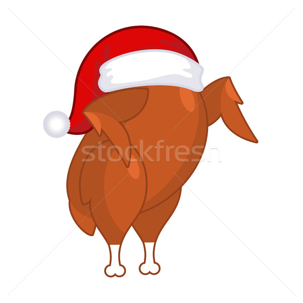 Christmas turkey in Santa Claus cap. Roast fowl on plate. Fried  Stock photo © MaryValery