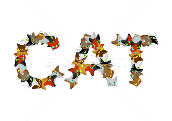 Cat sign text. Letters of cats. Pet font. home Animals typograph Stock photo © MaryValery